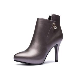 欧美秋冬新款高跟裸靴